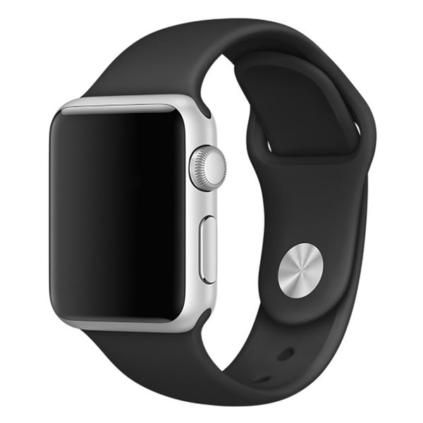 Soft Silicone Sport Style Replacement iWatch Strap Band-Black; For Apple Wrist Smart Watch 38mm. [FREE DELIVERY; 7-10 DAYS]