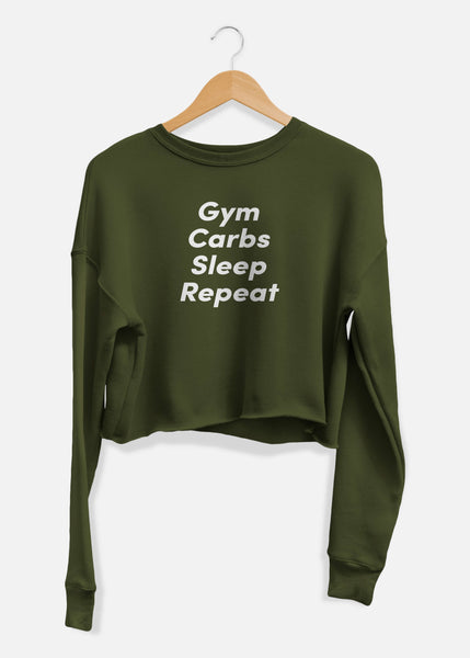 Gym Carbs Sleep Repeat Cropped Sweater