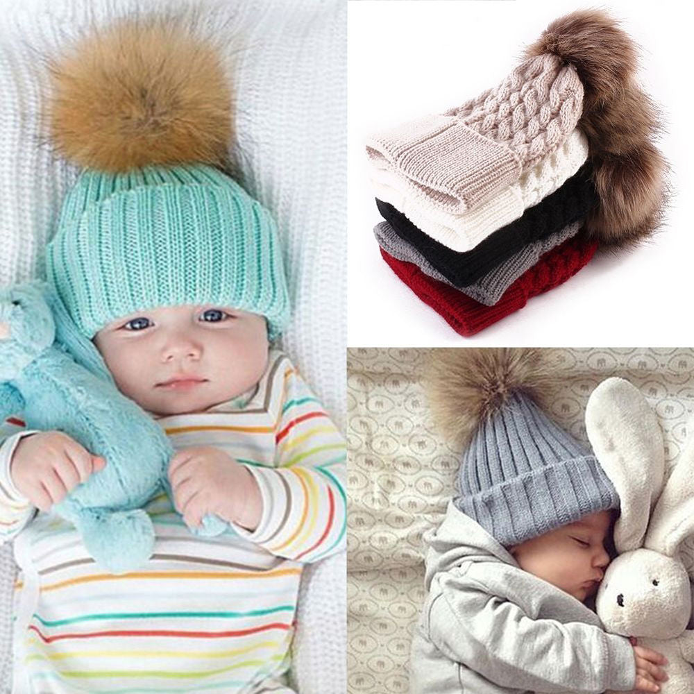 09ec505dd1f Baby Hat Faux Fur Baby Cap Cotton Pompom Bobble Hat – Shop For Win