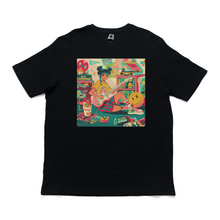 "Load image into Gallery viewer, ""Guitar Girl"" Basic Cotton T-Shirt Black"