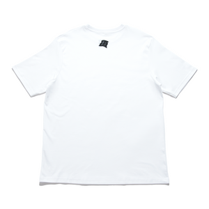 """Gaming Nights Alone"" Cut and Sew Wide-body Tee White"