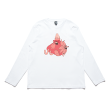 "Load image into Gallery viewer, ""Strawberry Juice"" Cut and Sew Wide-body Long Sleeved Tee White/Black"