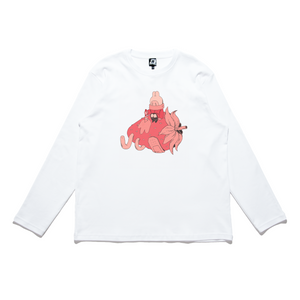 """Strawberry Juice"" Cut and Sew Wide-body Long Sleeved Tee White/Black"