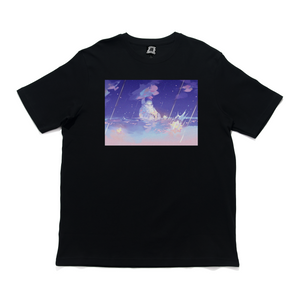 """Galaxxea"" Cut and Sew Wide-body Tee White/Black"