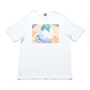 """Blue Bingsu"" Cut and Sew Wide-body Tee White"