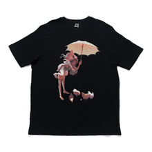 "Load image into Gallery viewer, ""Aster and Rosie Chickens"" Cut and Sew Wide-body Tee White/Black"