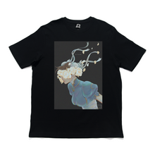 "Load image into Gallery viewer, ""Bloom: Blue and White"" Cut and Sew Wide-body Tee White/Black"