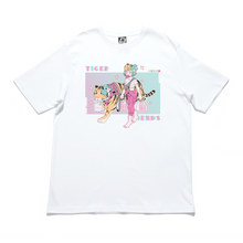 "Load image into Gallery viewer, ""Tiger Friends"" - Cut and Sew Wide-body Tee White/Black"