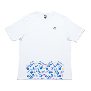 """Lonely Hero Green"" Cut and Sew Wide-body Tee White"