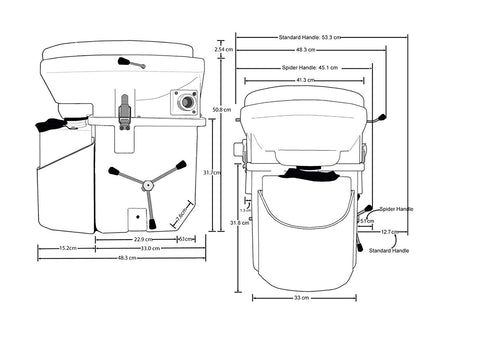 Nature's Head Self Contained Composting Toilet with Close Quarters Spider Handle Design - TinyHouseSupplyShop.com