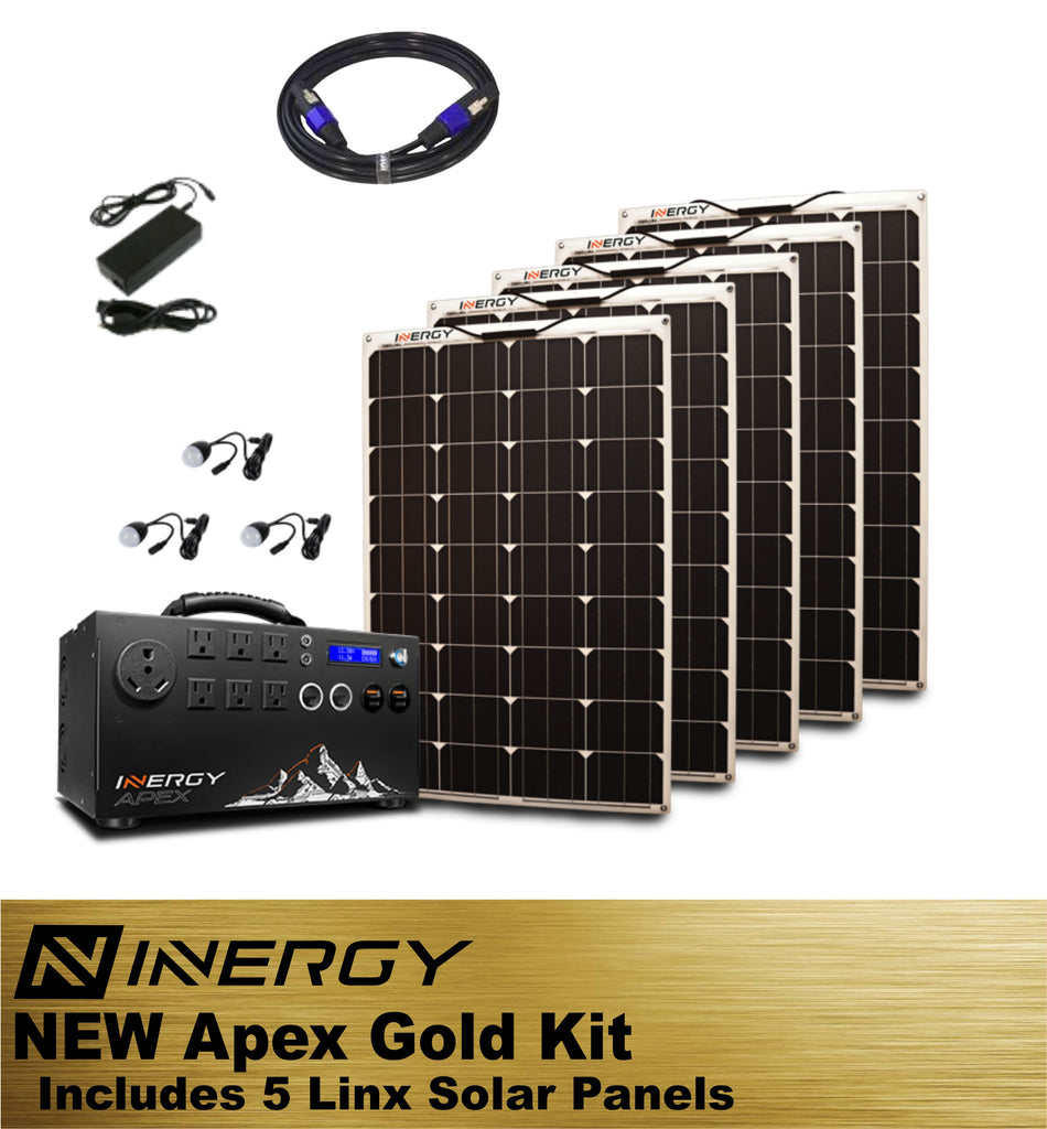 Inergy Apex Solar Generator GOLD Kit With 5 Linx Solar Panels - TinyHouseSupplyShop.com