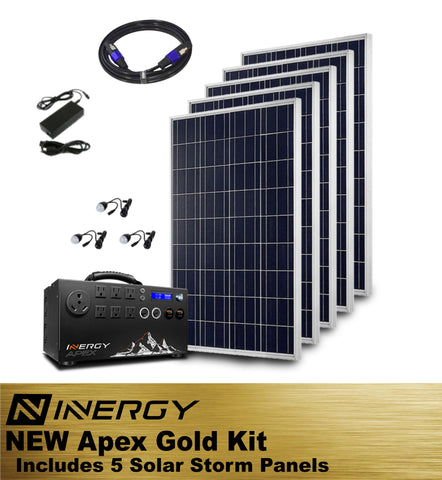 Inergy Apex Solar Generator GOLD Kit With 5 Solar Storm Panels - TinyHouseSupplyShop.com