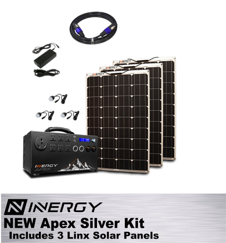 Inergy Apex Solar Generator SILVER Kit With 3 Linx Solar Panels - TinyHouseSupplyShop.com