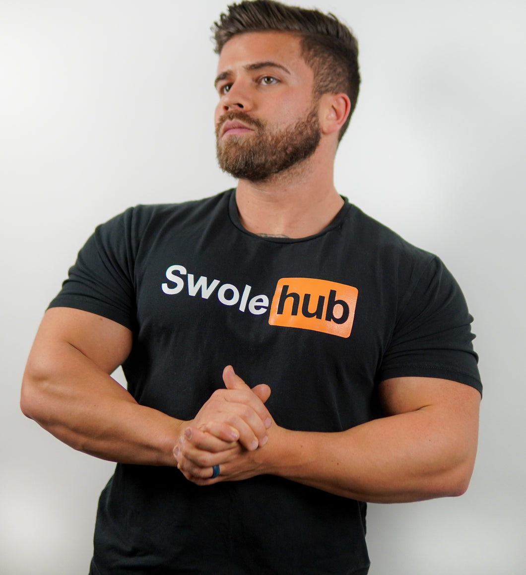 SwoleHub Premium Fitted T (Pumping in the Gym, Not Online)