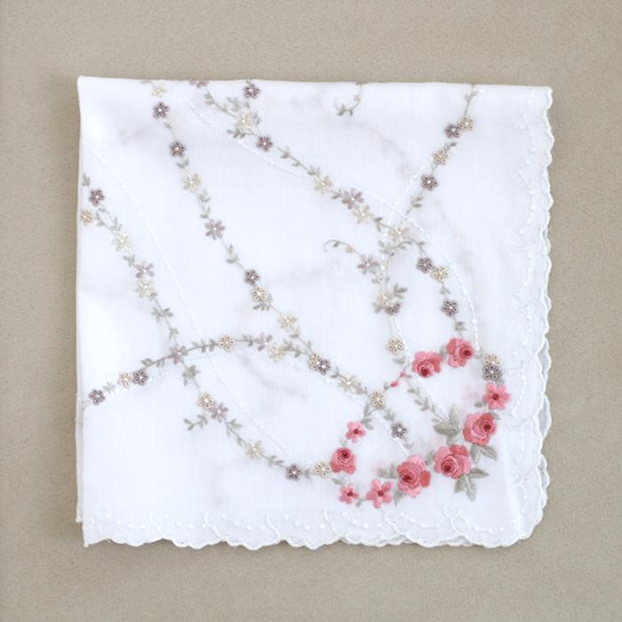 Rose hand embroidery( coral pink)