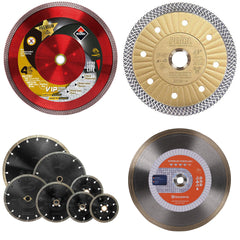 Turbo mesh and continuous diamond blades for cutting porcelain and ceramic tile