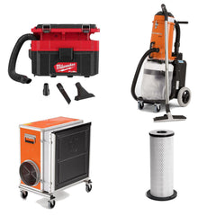 Vacuum cleaners, air scrubbers and filters