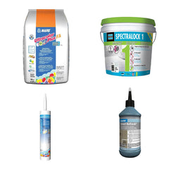 Grout and caulks from Mapei and Laticrete