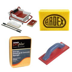 Sponges and floats for installing and cleaning grout