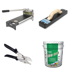 Tools for cutting and installing hardwood floors from Bullet Tools and Mapei