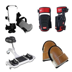 ProKnee, Milwaukee stabilizer, leather-faced knee pads, and ergonomic seat