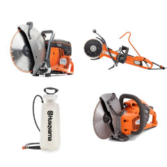 Husqvarna power cutters and pressurized water tank