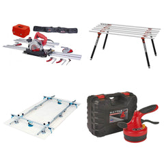 Tools for cutting and placing gauged thin panel porcelain sheets