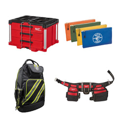 Milwaukee PACKOUT system, tool belt, back pack and small storage bags