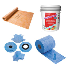 Sheet and roll-on waterproofing solutions from Mapei and Schluter