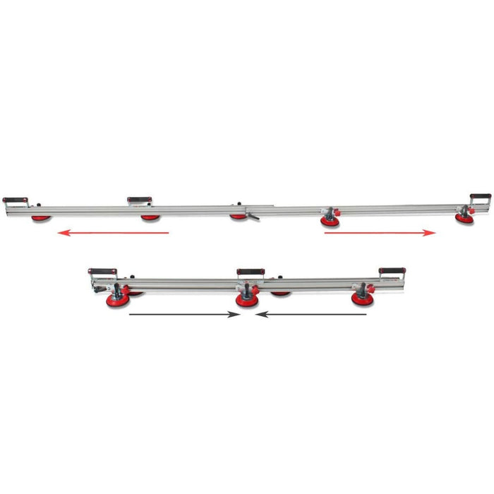 Rubi Slim Easytrans Thin Panel Transport Kit can be extended to handle up to almost 10 ft long material.