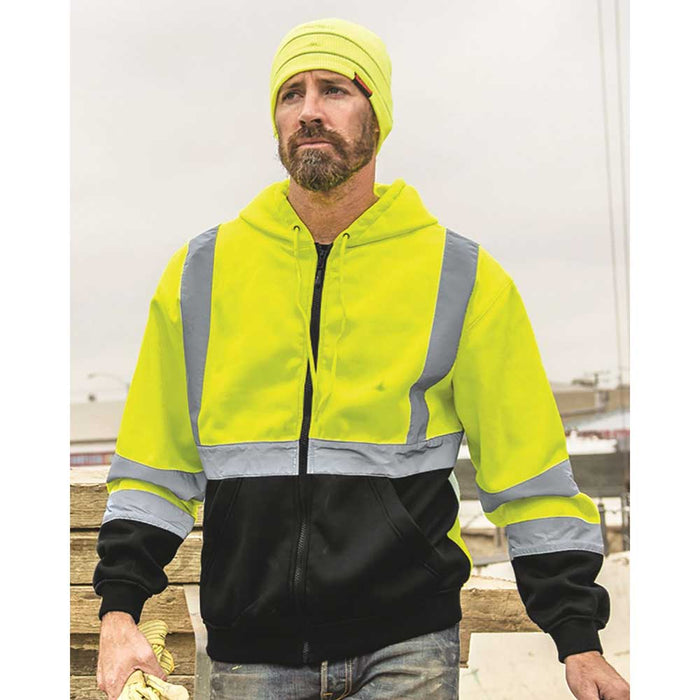 Contractor on jobsite wearing High-Visibility Full-Zip Hooded Sweatshirt