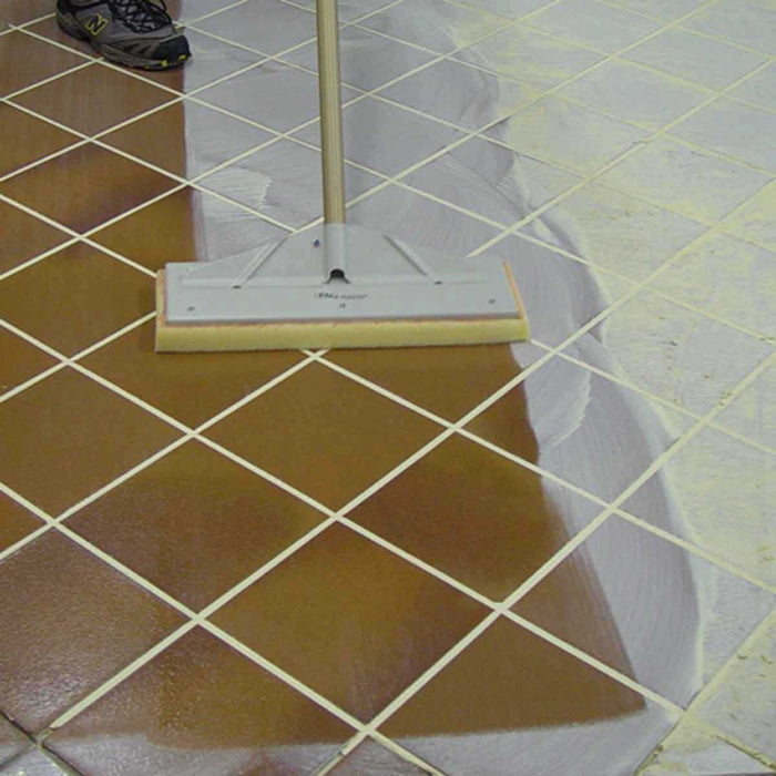 Raimondi Pedalo Washmaster Station is used for cleaning grout on floors with a pole without getting on knees