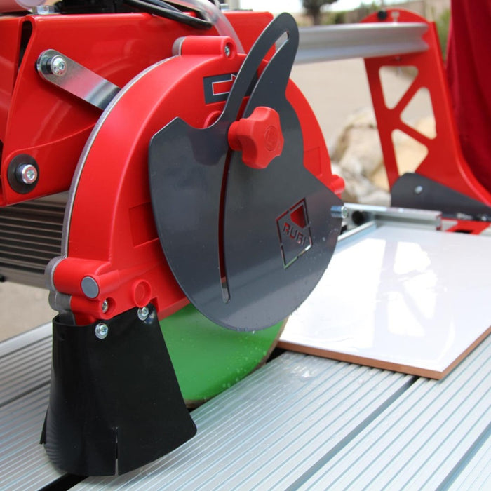 "Rubi DC 250-1200 48"" tile saw is used for wet cutting porcelain ceramic and other tile"