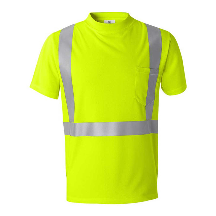 High Performance Microfiber T-Shirt with Reflective Strip - Lime