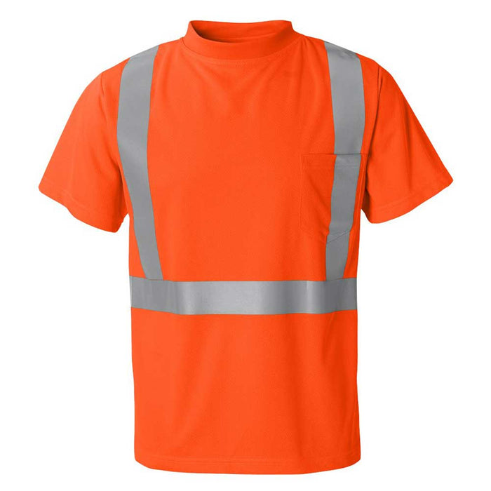 High Performance Microfiber T-Shirt with Reflective Strip - Orange
