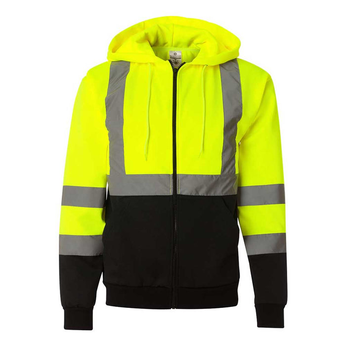 High-Visibility Full-Zip Hooded Sweatshirt - Lime