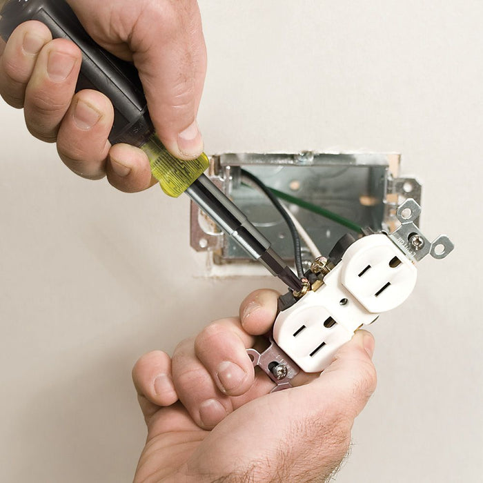 Fixing outlets with Klein Tools 11-in-1 Multi-Bit Screwdriver