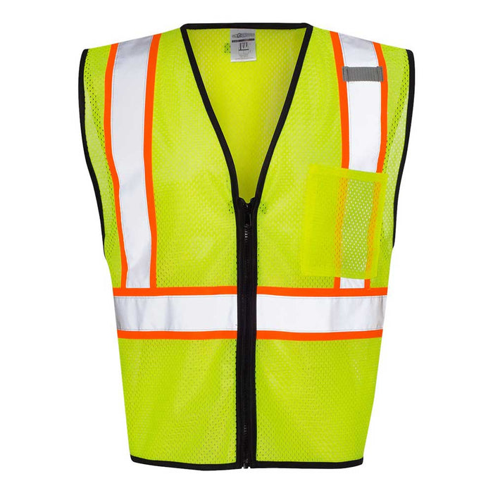 Economy Vest with Contrast-Color Zippered Front - Lime