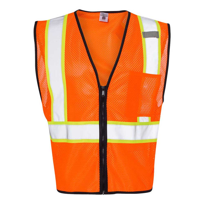 Economy Vest with Contrast-Color Zippered Front - Orange