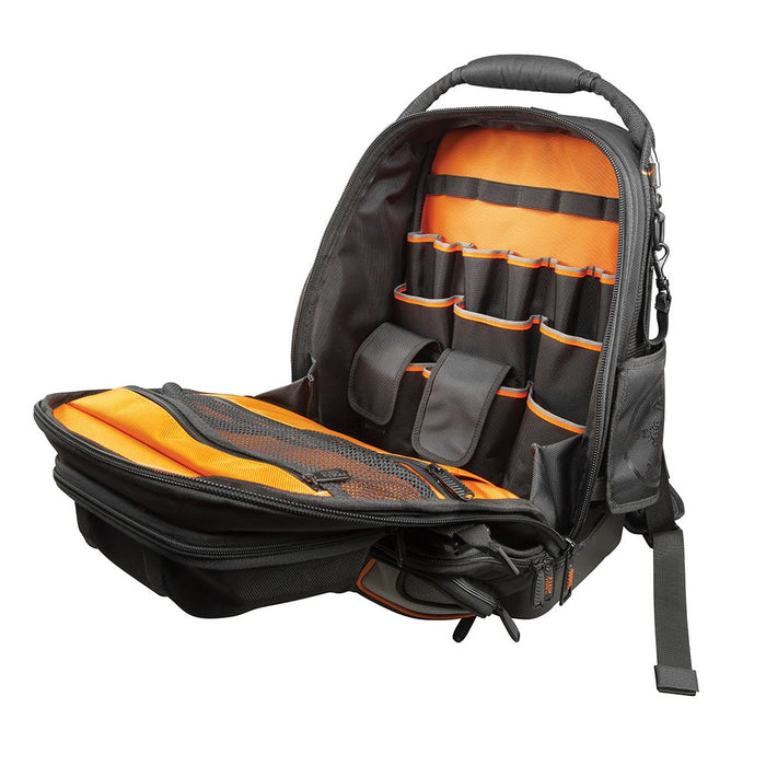 Klein Tools Tradesman Pro Tool Master Backpack, opened