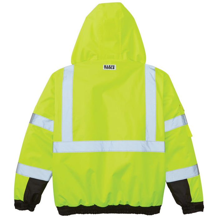 Klein Tools High-Visibility Winter Bomber Jacket rear view