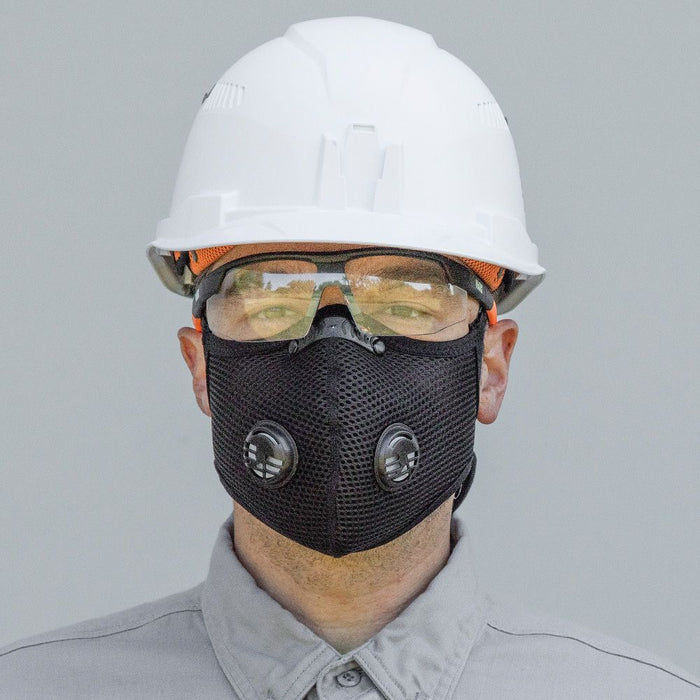 Klein Reusable Face Mask on contractor with safety glasses and hard hat