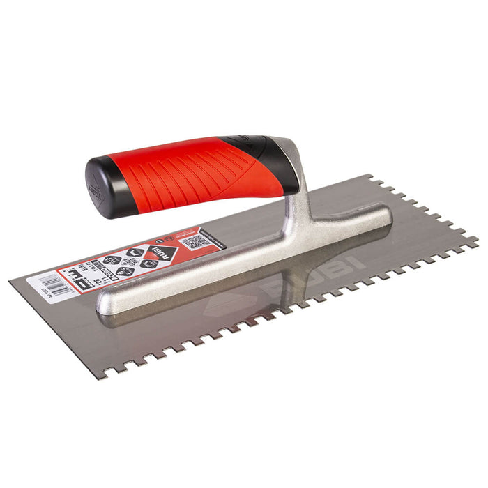 Rubi square notch for spreading adhesive on ceramic, porcelain, marble, and other types of tile. Can also be used to attach underlayments to sub floor like Kerdi and Ditra