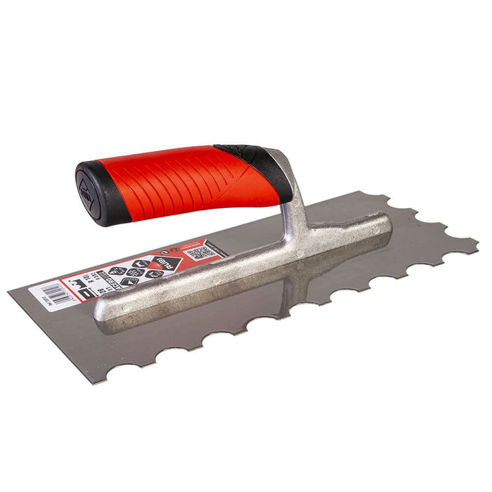 Rubi U notch for spreading adhesive on ceramic, porcelain, marble, and other types of tile.