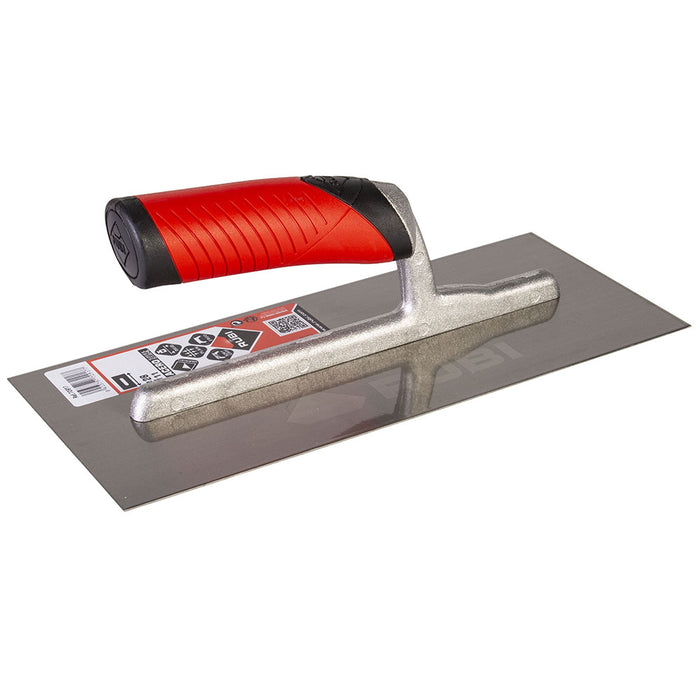 Rubi Flat trowel spreading adhesive on ceramic, porcelain, marble, and other types of tile. Can also be used to attach underlayments to sub floor like Kerdi and Ditra