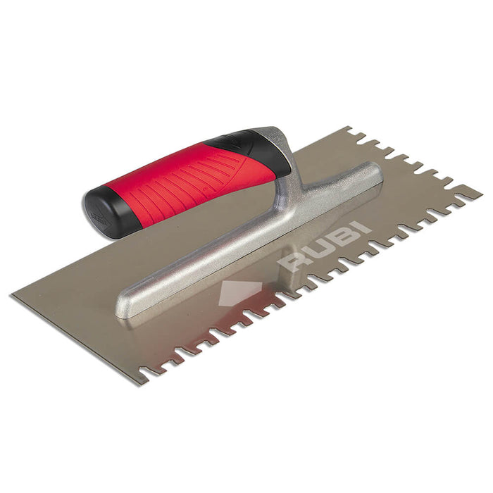Rubi euro notch for spreading adhesive on ceramic, porcelain, marble, and other types of tile. Can also be used to attach underlayments to sub floor