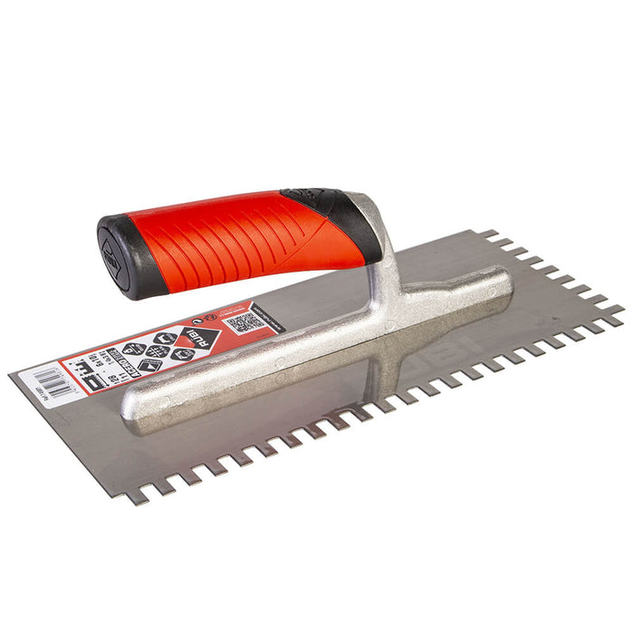 Rubi square notch for spreading adhesive on ceramic, porcelain, marble, and other types of tile. Can also be used to attach underlayments to sub floor