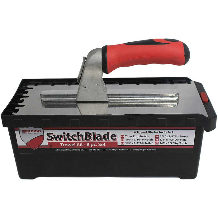 RTC SwitchBlade Euro notch trowel and handle with carrying case assembly