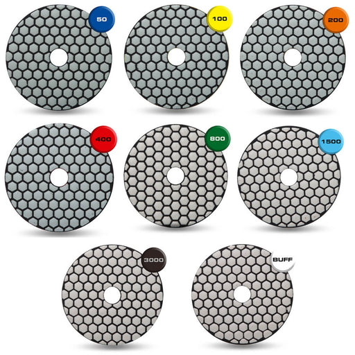 "Rubi Tools 4"" Resin Dry Polishing Pads"