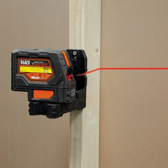 Klein Tools red line laser mounted on wood frame